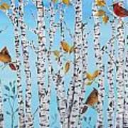 Cardinals Among The Birch-jp2061 Art Print