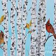 Cardinals Among The Birch-e Art Print