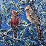 Cardinals And Holly Art Print