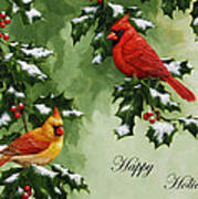 Cardinals Holiday Card - Version With Snow Art Print