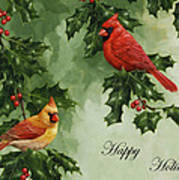 Cardinals Holiday Card - Version Without Snow Art Print by Crista Forest