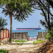 Cargo Ship On Chesapeake Bay Art Print