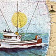 Carina Trawl Fishing Boat Nautical Chart Map Art Art Print