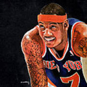Carmelo Anthony - New York Knicks Art Print by Michael  Pattison