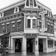 Carnation Cafe Main Street Disneyland Bw Art Print