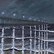 Carolina Beach Pier By Night Art Print