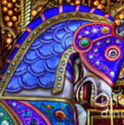 Carousel Beauty Blue Charger Art Print