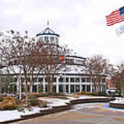 Carousel Building In The Snow Print by Tom and Pat Cory