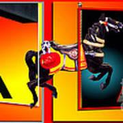 Carousel Horse Fireman 04 In Teal Art Print