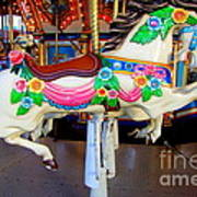 Carousel Horse With Flower Drape Art Print