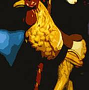 Carousel Rooster Art Print