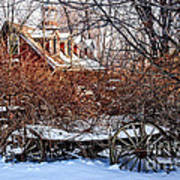 Carriage House In Snow Art Print