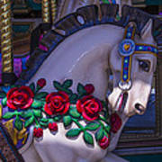 Carrsoul Horse With Roses Art Print