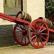 Cart Loaded With Wood Beer Barrels Art Print