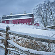Carter Farm - Litchfield Hills Winter Scene Art Print by Thomas Schoeller