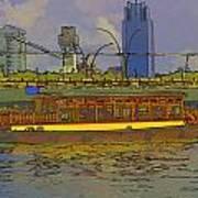 Cartoon - Colorful River Cruise Boat In Singapore Next To A Bridge Art Print