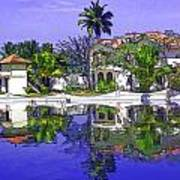 Cartoon - Cottages And Lagoon Water Art Print