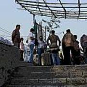 Cartoon - Locals And Tourists Standing At The Top Of The Steps Near The Dal Lake Art Print