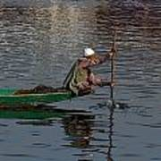 Cartoon - Man Plying A Wooden Boat On The Dal Lake Art Print