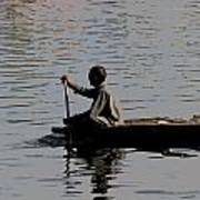 Cartoon - Splashing In The Water Caused Due To Kashmiri Man Rowing A Small Boat Art Print