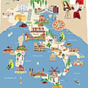 Cartoon Map Of Italy Art Print