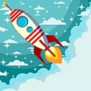 Cartoon Rocket Taking Off Against The Art Print