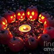 Carved Pumpkins With Pumpkin Pie Art Print