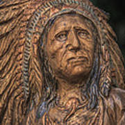 Carved Wooden Indian Art Print