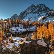 Cascades Ring Of Larches Art Print by Mike Reid