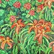 Cascading Day Lilies Art Print