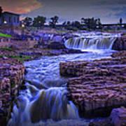 Cascading Waterfalls At Sunset Art Print