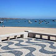 Cascais Promenade And Bay In Portugal Art Print