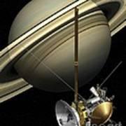 Cassini-huygens Probe And Saturn, Artwork Art Print
