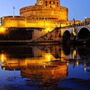 Castel Sant'angelo And The Tiber River Art Print
