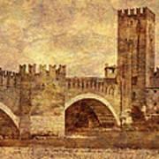 Castel Vecchio And Bridge In Verona Italy Art Print