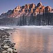 Castle Mountain And The Bow River Art Print