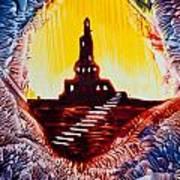 Castle Rock Silhouette Painting In Wax Art Print