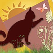 Cat And Butterfly Art Print