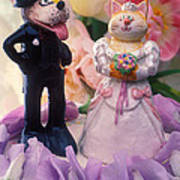 Cat And Dog Bride And Groom Art Print by Garry Gay