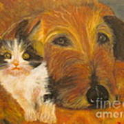 Cat And Dog Original Oil Painting  Art Print
