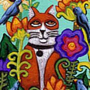 Cat And Four Birds Art Print