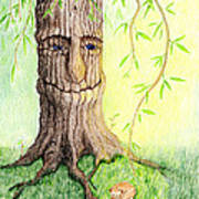 Cat And Great Mother Tree Art Print
