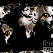 Cat Eyes World Map 2 Print by Andee Design