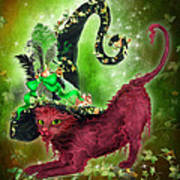 Cat In Fancy Witch Hat 2 Art Print