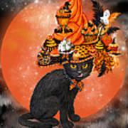 Cat In Halloween Cupcake Hat Art Print