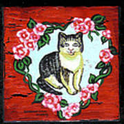 Cat In Heart Wreath 1 Art Print