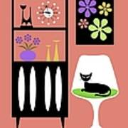 Cat In Pink Room Art Print