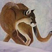 Cat In Snow Art Print