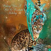 Cat In The Leopard Trim Santa Hat Art Print