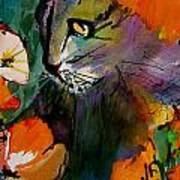 Cat In The Poppies Art Print